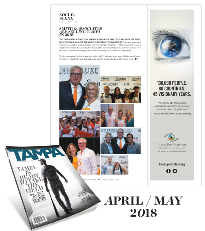 Tampa Magazine April/May 2018 cover and article snapshot